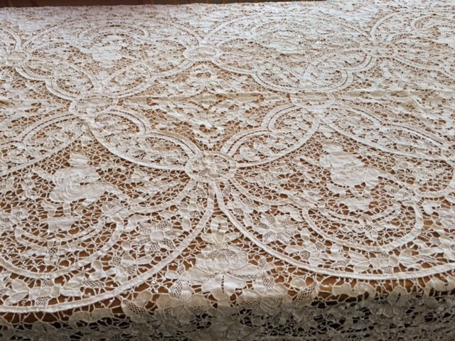Handmade lace tablecloth, from the Chicago home of my grandmother.