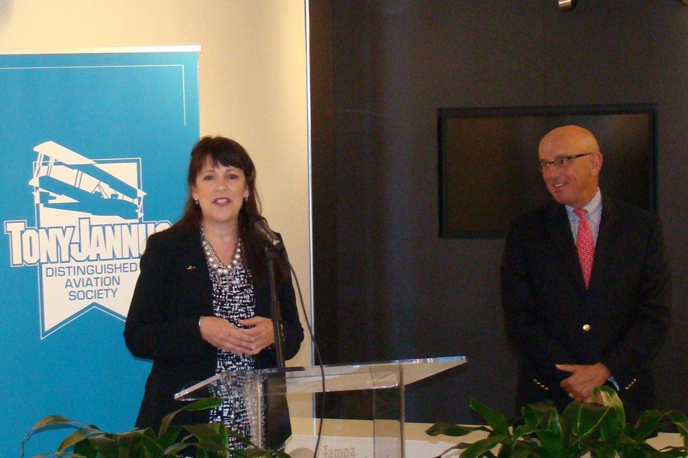 Alison Hoefler & Joe Lopano at Press Conference, 21 May '14.JPG