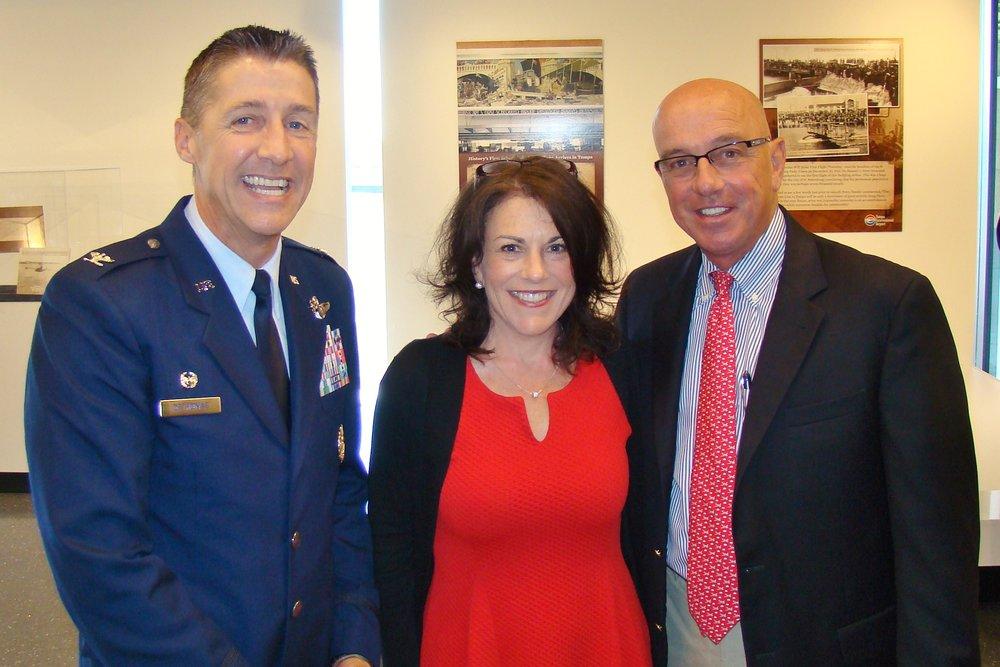Colonel Scott DeThomas, Janet Zink, and Joe Lopano at Press Conference, 21 May '14.JPG