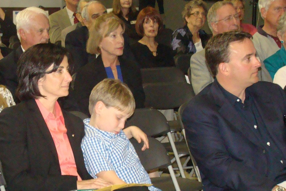 Nicole Stott and Family watching her Introduction, 28 Jan '12.JPG