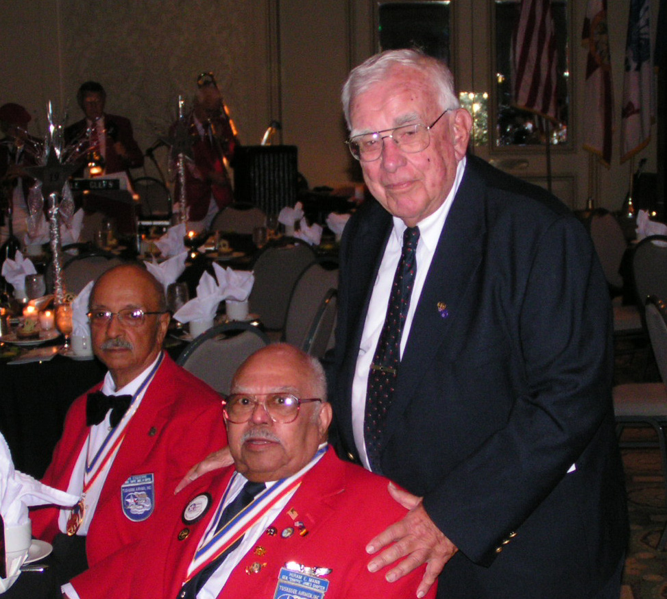 Bob Cutler with two Tuskegee Airmen; one who escorted his battle-damaged B-24 to home base in WWII, 12 Nov '05.jpg