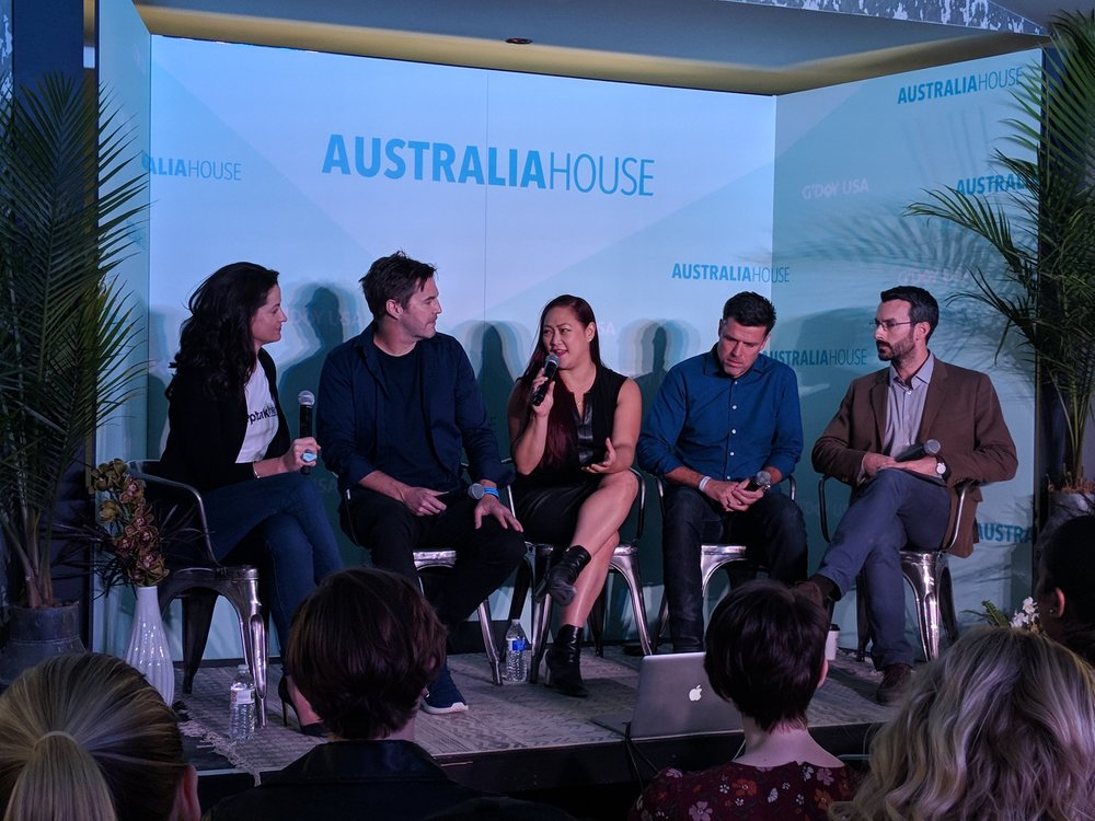 'Australia House' at SXSW 2018 with G'Day USA, speaking on a 'Tech4Good' panel.