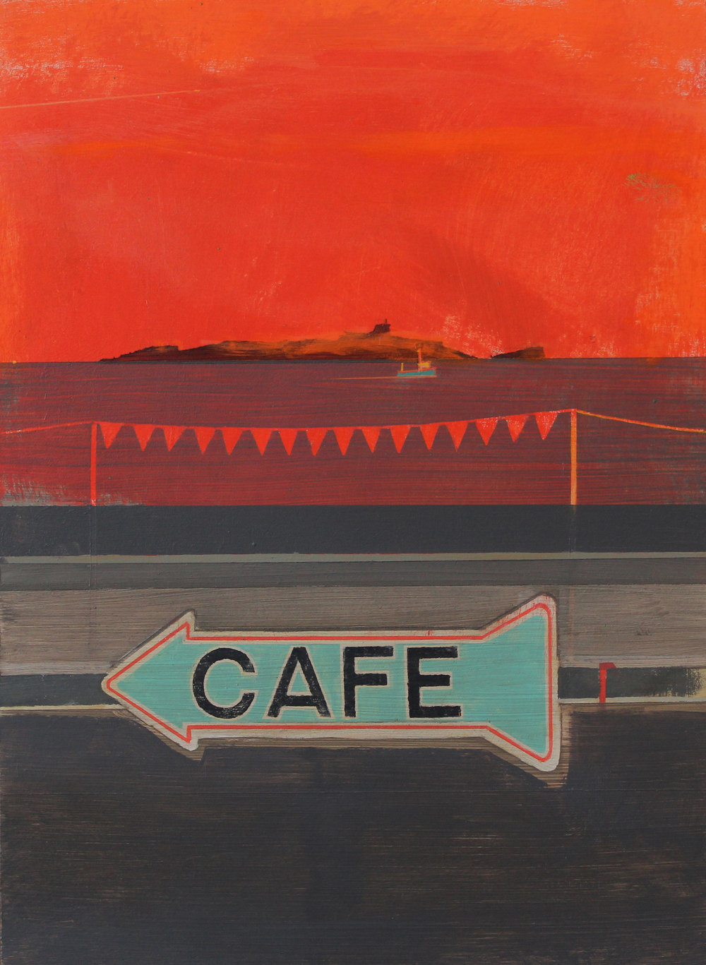 Cafe sign at sunset, Mousehole, 35x25 cm, acrylic on board, £695.