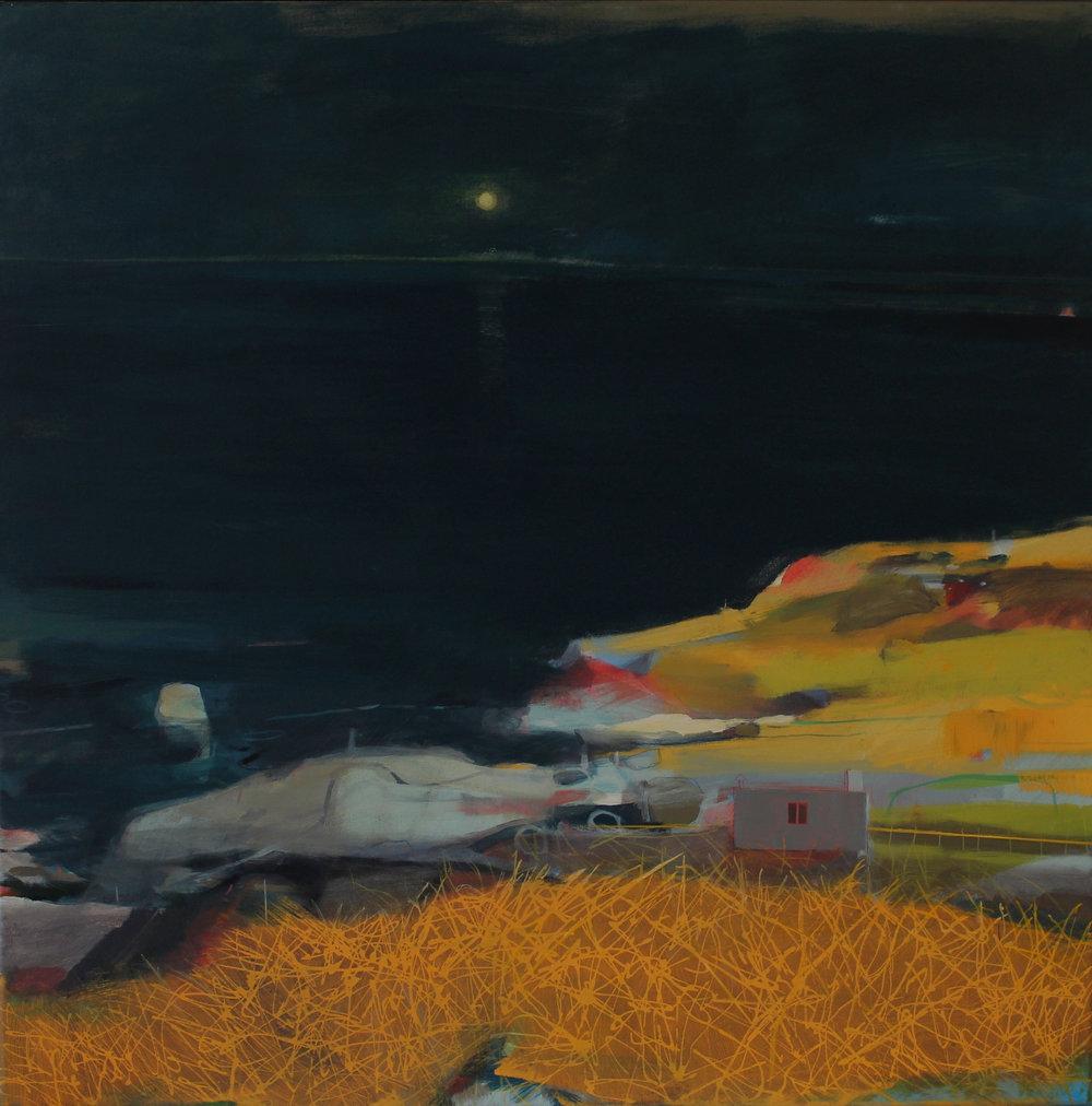 Cornish coast, sunset and moonrise, acrylic on canvas, 100x100 cm £2700.