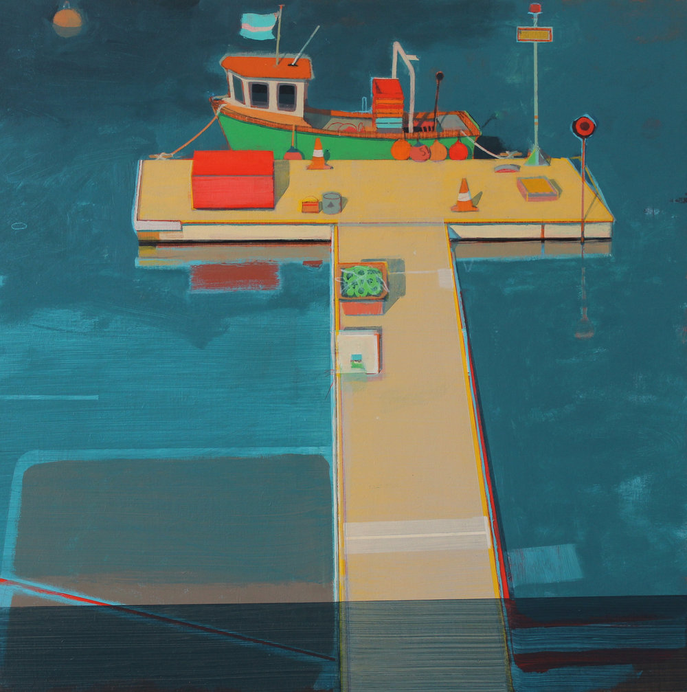 Green fishing boat , Mylor 45x45 cm , acrylic on board, £1000.
