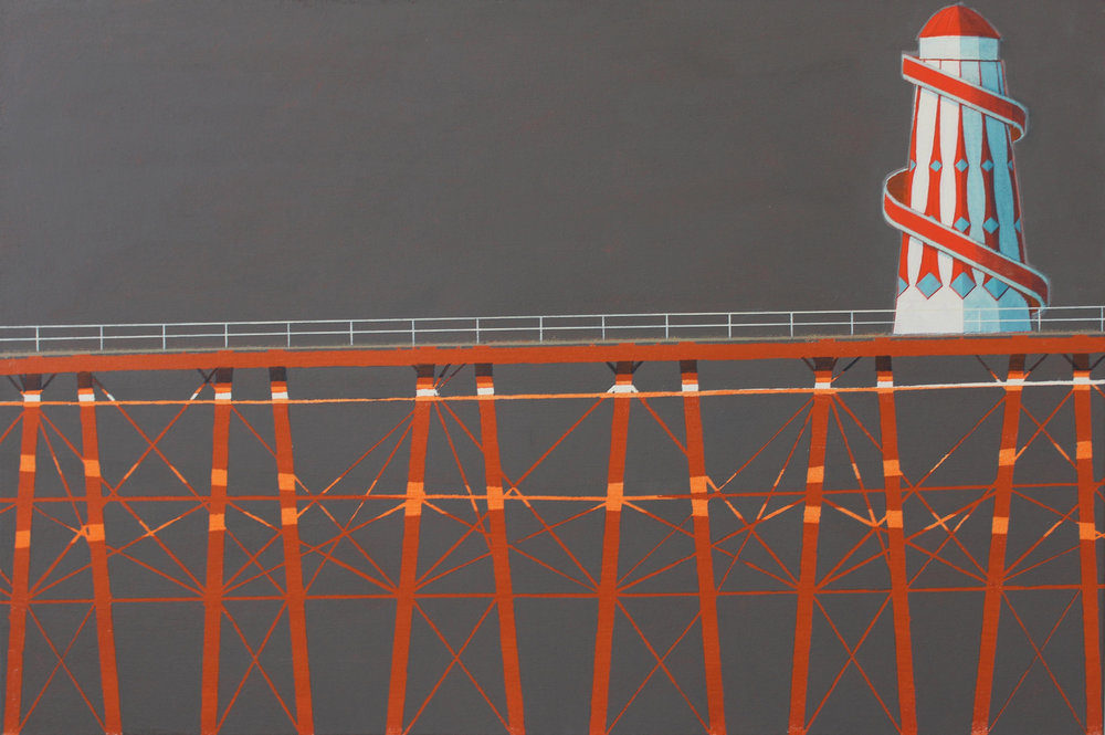 Pier and helterskelter, acrylic on canvas , 51x76 cm £sold.