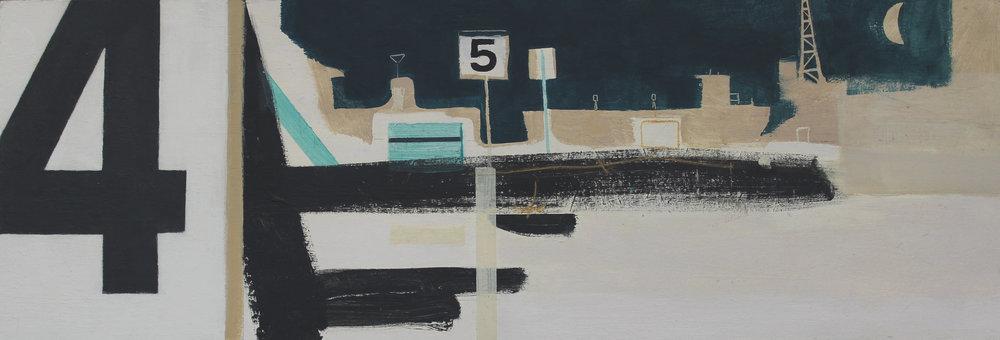 Moonlit shipyard, Falmouth, acrylic on board, 20x58 cm, £850.