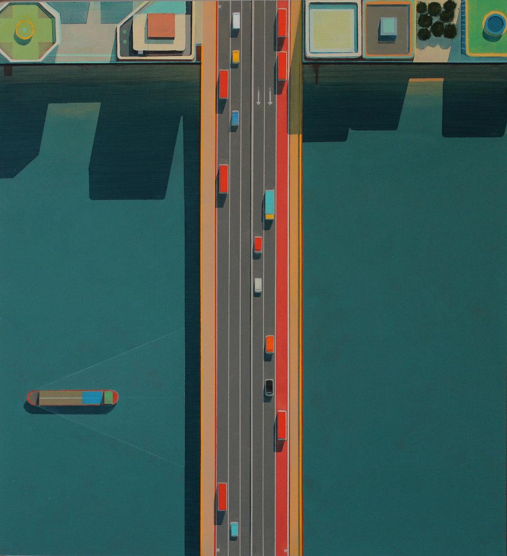 London Bridge, acrylic on board, 60x55 cm £sold.