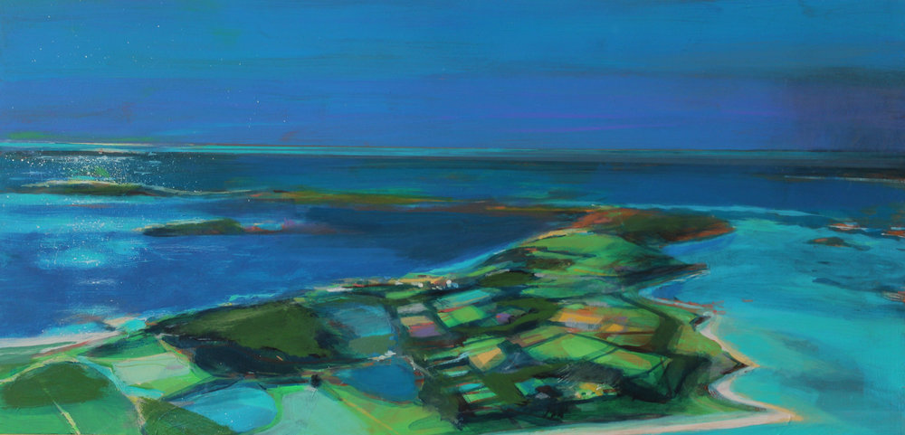 Over Tresco, Isles of Scilly, acrylic on board ,28x60 cm £sold.