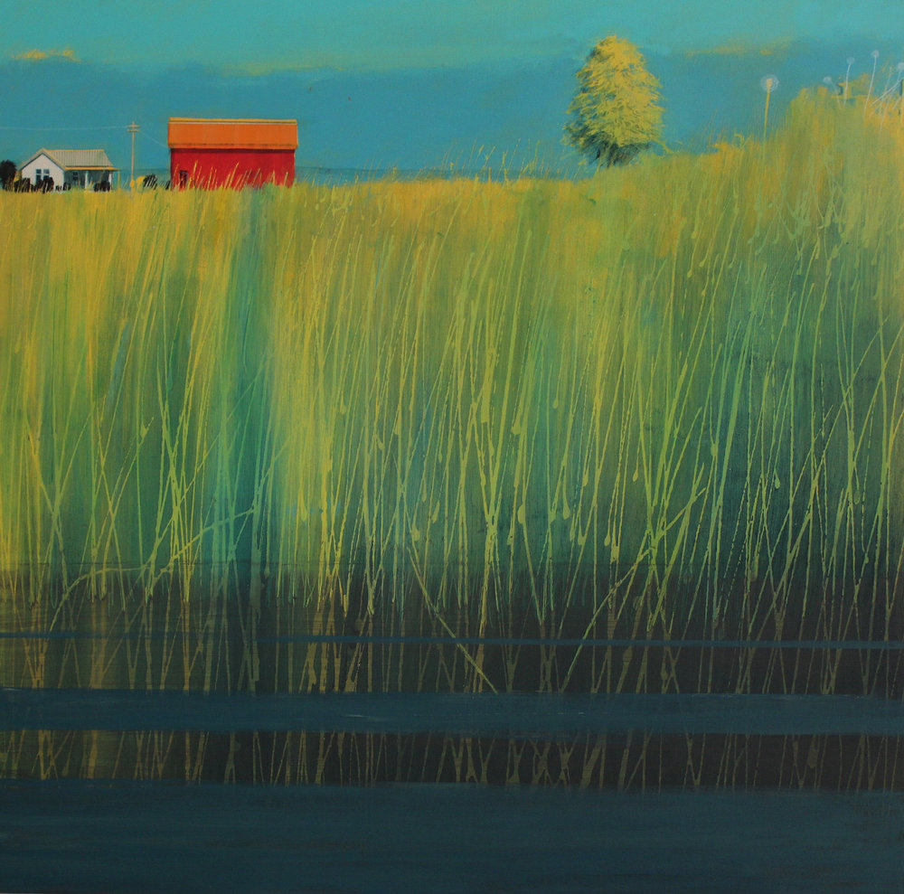 River reeds and farm buildings, Cornwall, acrylic on board, 61x62 cm, £sold.