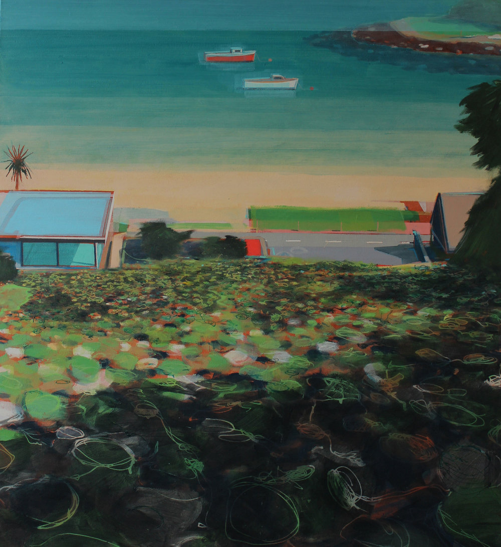 Beach houses and coast road, acrylic on canvas 115x125 cm £3250.