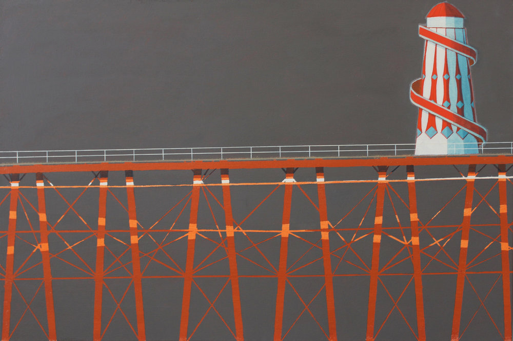 Pier and helterskelter, acrylic on canvas, 51x76 cm, £sold.