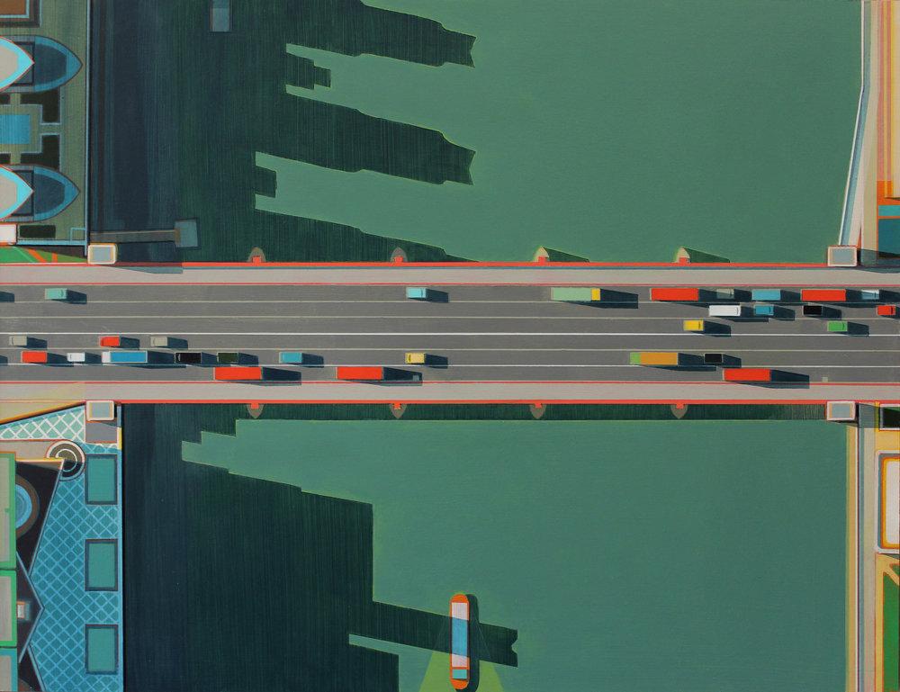 Vauxhall bridge, acrylic on board, 47x60 cm, £sold