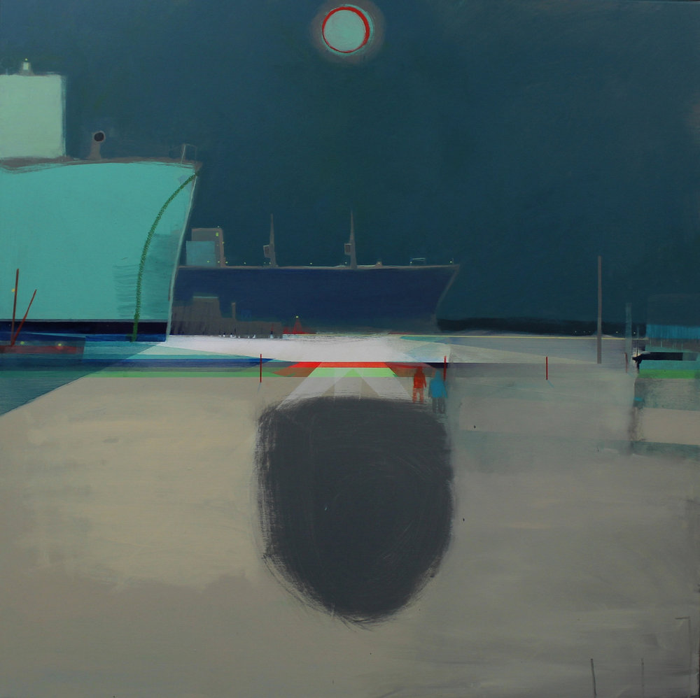 Ships in moonlight, Falmouth