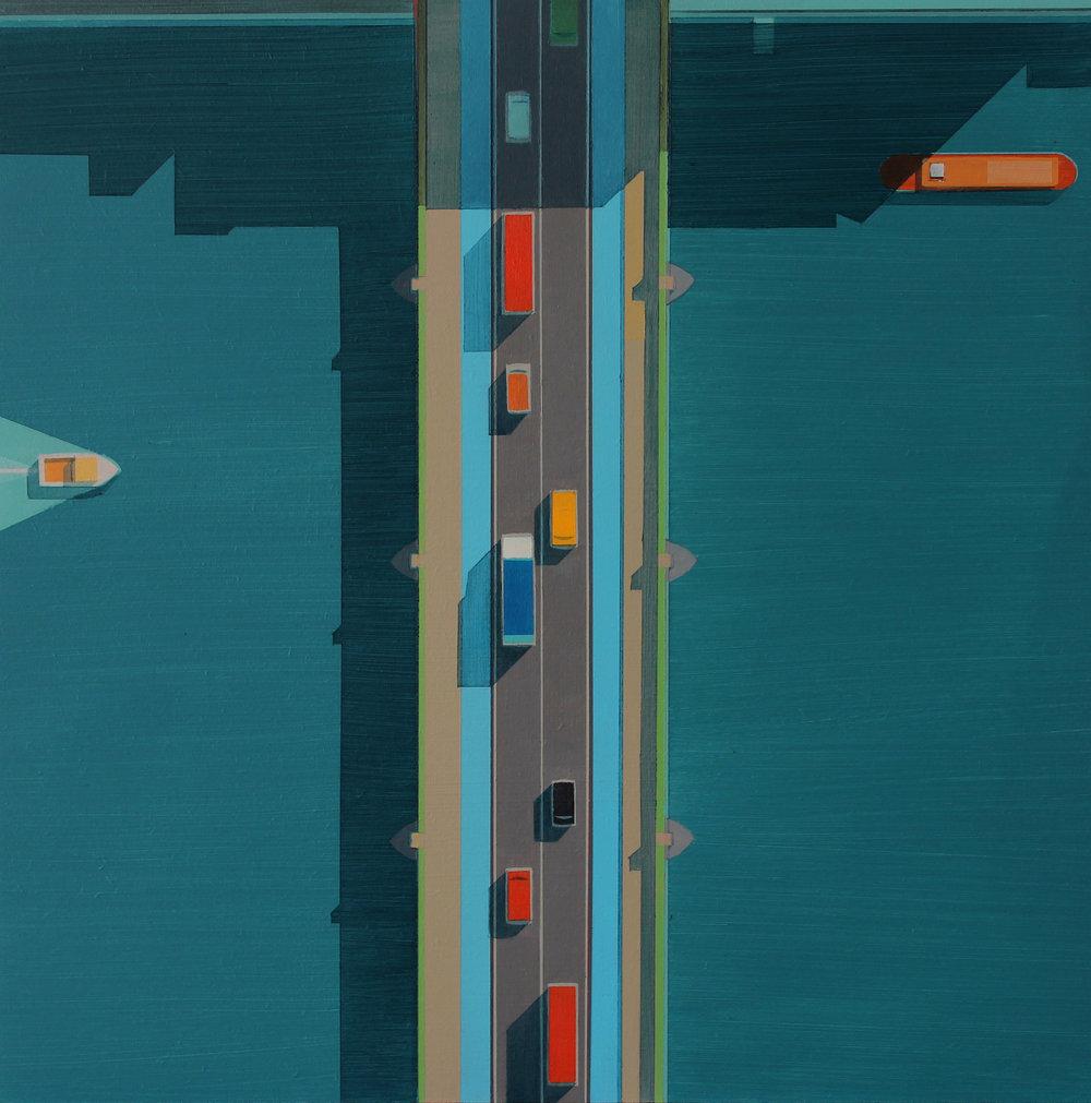Southwark Bridge, afternoon shadow, acrylic on board, 40x40 cm £sold