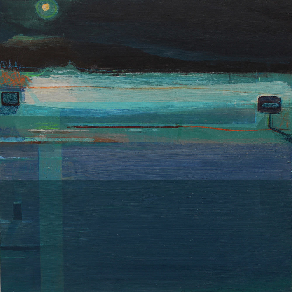 Moonlit coast, acrylic on board, 30x30 cm, £sold.