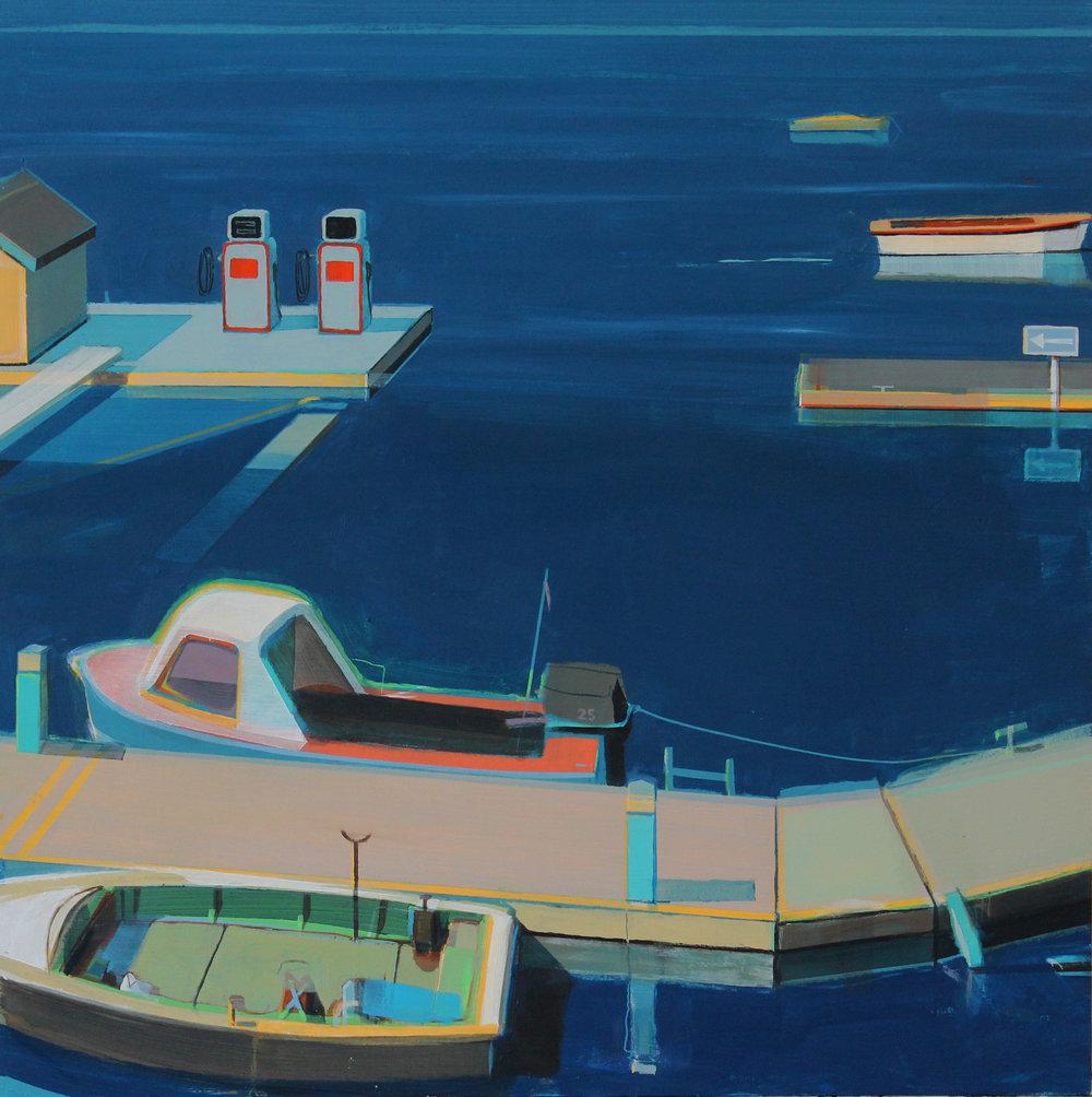 Pontoons, acrylic on board, 45x45 cm, £1,200