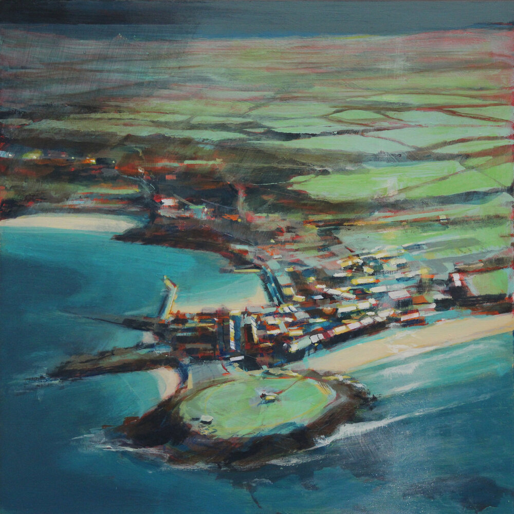 Above St Ives, heavy weather, acrylic on board, 30x30 cm, £725.