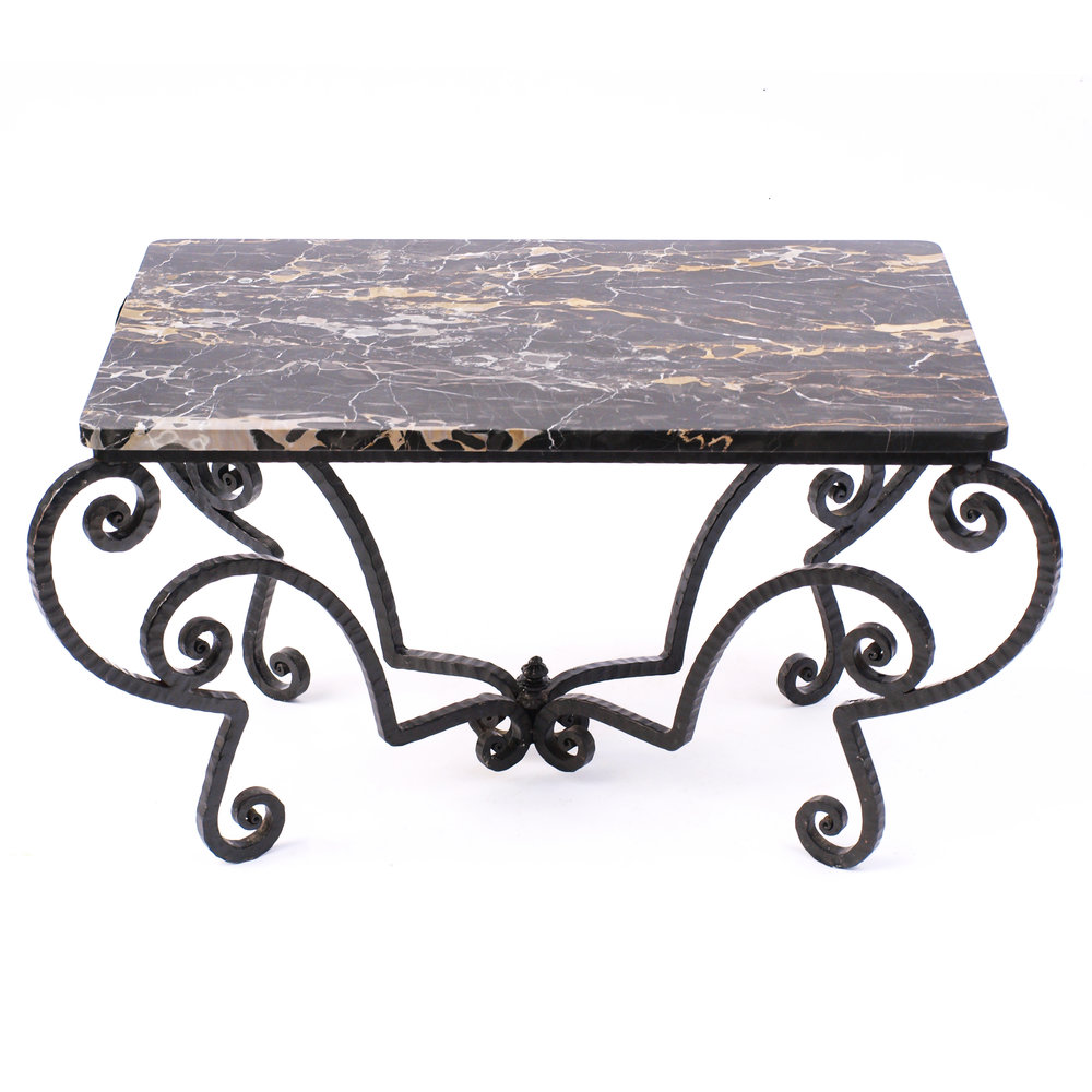 1940s WROUGHT IRON AND BLACK PORTORO MARBLE COFFEE TABLE
