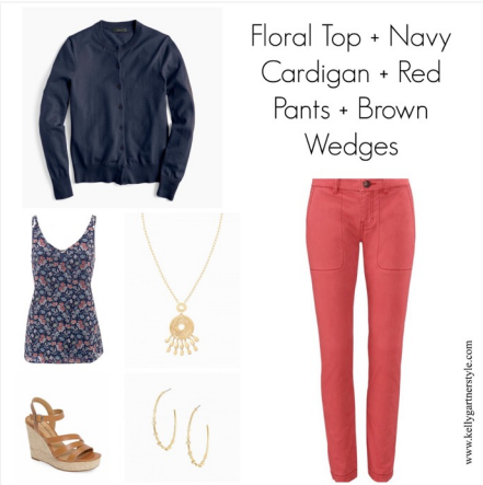 spring outfit with floral top
