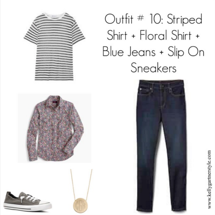 spring outfit with striped shirt