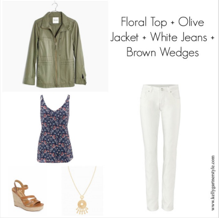 spring outfit with olive jacket