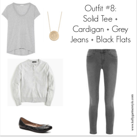 spring outfit with grey cardigan