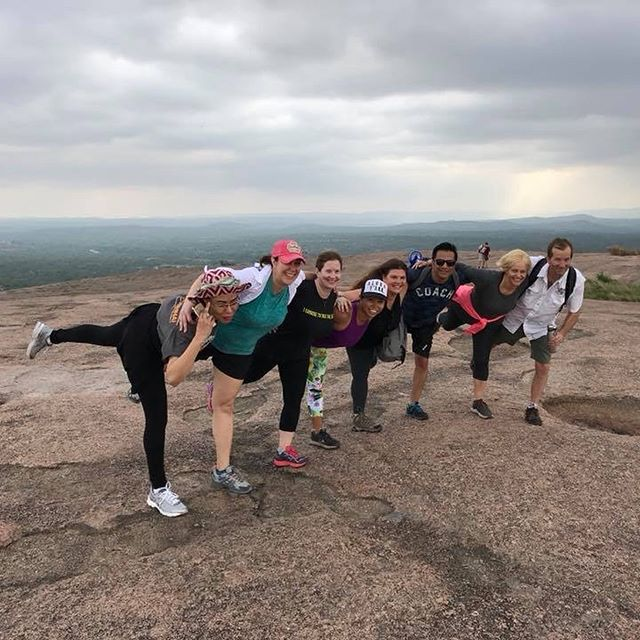 Highlights from the weekend: 1. hiking Enchanted Rock 2. practicing yoga in a little chapel on a ranch 3. tasting wine at Grape Creek Vineyards 4. strolling down the main street in Fredericksburg and eating ice cream  5. roasting marshmallows and telling jokes around a bonfire 6. igniting new friendships, empowering ourselves and others, belonging to a group of badass yogis, and serving the world with love and gratitude 7. passing a woman riding a bike AND reading a book on the highway!!! 8. celebrating BIG Memorial's third birthday with an epic yoga class taught by all the Memo teachers  I am 💯 a better person because of the hours I've spent with these humans, and I am so thankful for the opportunity to create a new, wonderful life for myself! ⛰🧘🏼‍♀️🍦🍷🔥 🎂🧘🏼‍♀️
