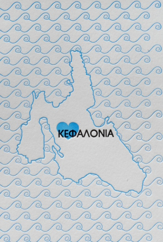 Handprinted Letterpress Kefalonia Map Image kindly provided by Cartoules Press. Available to purchase as a Limited Edition print from: www.cartoulespress.com