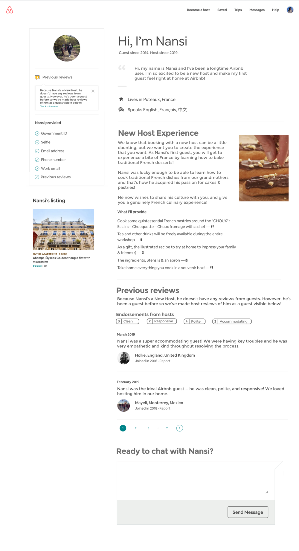 The redesigned new host profile.