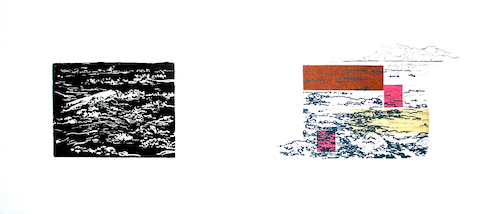 Up to Now I   Linocut, Polyester Plate Lithography, Chine Collé Framed: 12 x 21 inches