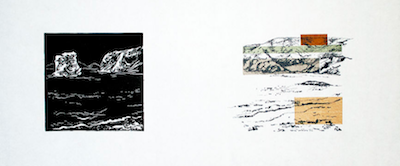 Up to Now II   Linocut, Polyester Plate Lithography, Chine Collé Framed: 12 x 21 inches