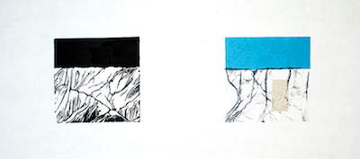 Up to Now VI   Linocut, Polyester Plate Lithography, Chine Collé Framed: 12 x 21 inches