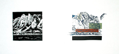 Up to Now VII   Linocut, Polyester Plate Lithography, Chine Collé Framed: 12 x 21 inches