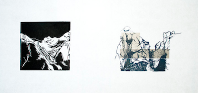 Up to Now VIII   Linocut, Polyester Plate Lithography, Chine Collé Framed: 12 x 21 inches