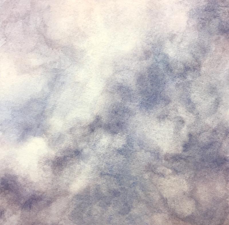 "Skylight I original watercolor, 2017 5 x 5 "", framed 11 x 11"""