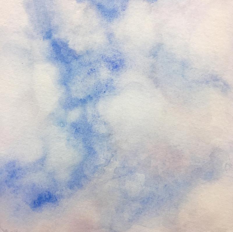 "Skylight VI original watercolor, 2017 5 x 5 "", framed 11 x 11"""