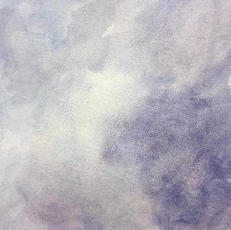 "Skylight VII original watercolor, 2017 5 x 5 "", framed 11 x 11"""