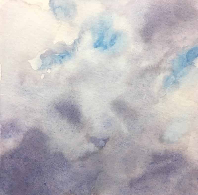 "Skylight VIII original watercolor, 2017 5 x 5 "", framed 11 x 11"""