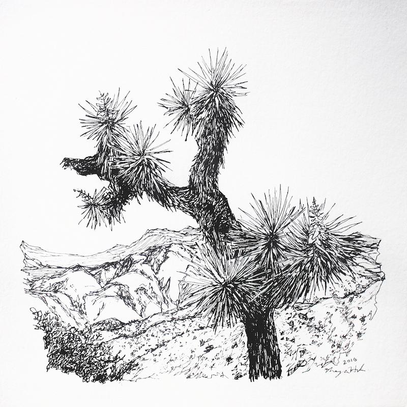 """Joshua Tree   Acrylic and Ink 8"""" x 8"""", 14"""" x 14"""" framed 2017"""