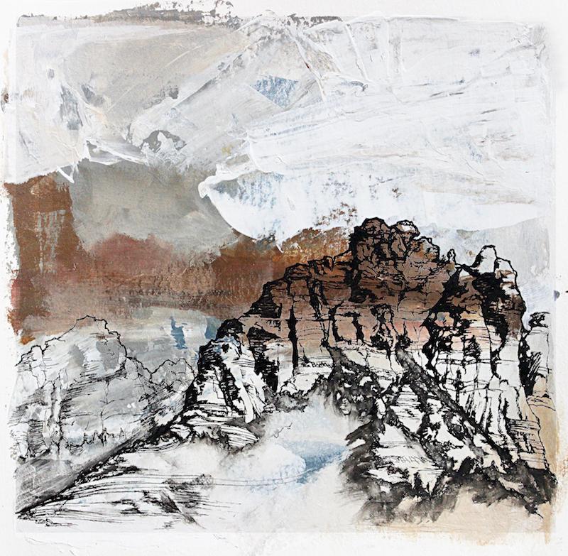 "Sedona   Acrylic and Ink 7.5"" x 7.5"", 14"" x 14"" framed 2017"
