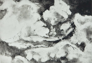 """Crashing Clouds 942 - Solar plate etching print on Hahnemuhle paper23.5"""" x 30.5"""" x 1.5'', 2017"""