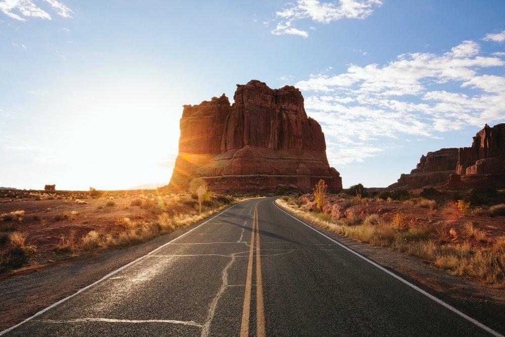 Driving thru Arches National Park