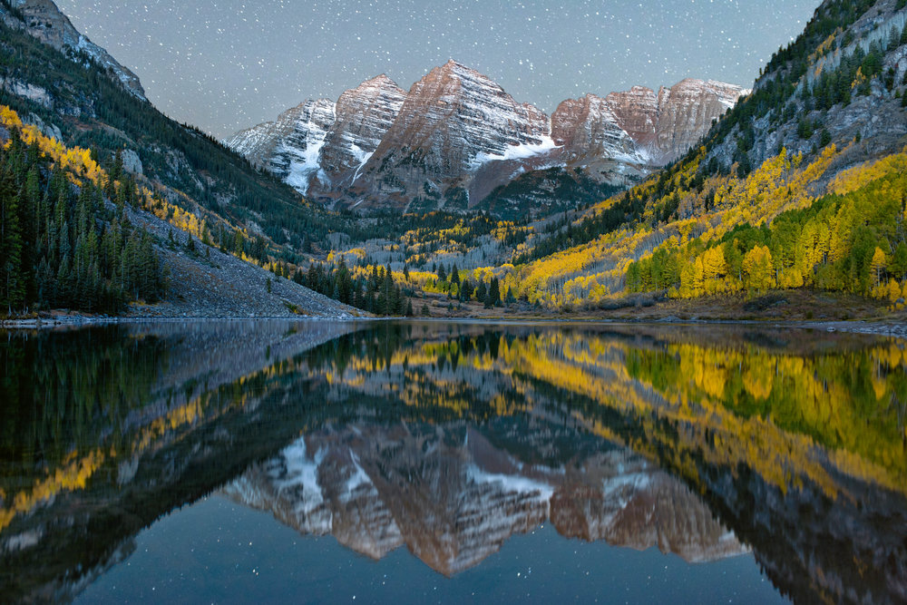 The Maroon Bells, close to Aspen. Taken in the dead of the night.