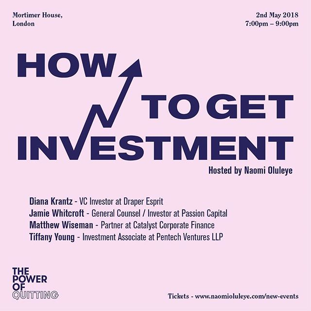 """A question regularly asked at my events is """"how do I get investment?"""" In light of this, I have decided to host a special one-off panel discussion and Q&A on this topic @mortimerhouse on 2nd May (7pm-9pm). I will be joined by leading venture capitalists, investors, and financial experts including Diana Krantz (VC Investor at Draper Esprit), Jamie Whitcroft (Investor at Passion Capital), Matthew Wiseman (Partner at Catalyst Corporate Finance), and Tiffany Young (Investment Associate at Pentech Ventures LLP). They will be offering their expertise on everything from how to prepare yourself for investment, how to secure investment, and how to plan for a full exit when you become the next Glossier, Farfetch, or Spotify! Tickets in bio. 💰🏦⚡"""
