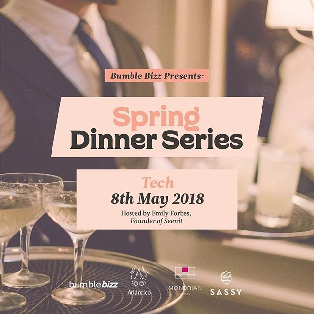 Limited free tickets for the second Bizz dinner go live this morning at 9am via @bumblebizz mode in the @bumble_uk app. The dinner will be hosted by the amazing @forbes_emily, Founder of @seenit__ .  Emily has been featured in the @forbes 30 Under 30 and founded her company in 2014, with the mission to unlock the power of the world's communities through video storytelling. 🐝 #BumbleBizz