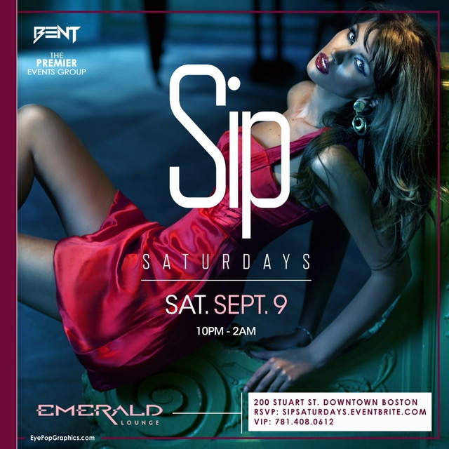 "Mixing BENT Hip Hop party vibes with Trendy & Fashionable Young Professionals, Sip Saturdays at Emerald has become a ""must go"" destination on Saturdays for those who love great food, drinks and dancing ! Click the button below for LIMITED Ladies Free Tickets. For More Information, Birthdays or VIP Tables Text 781.408.0612 LETS GET BENT"