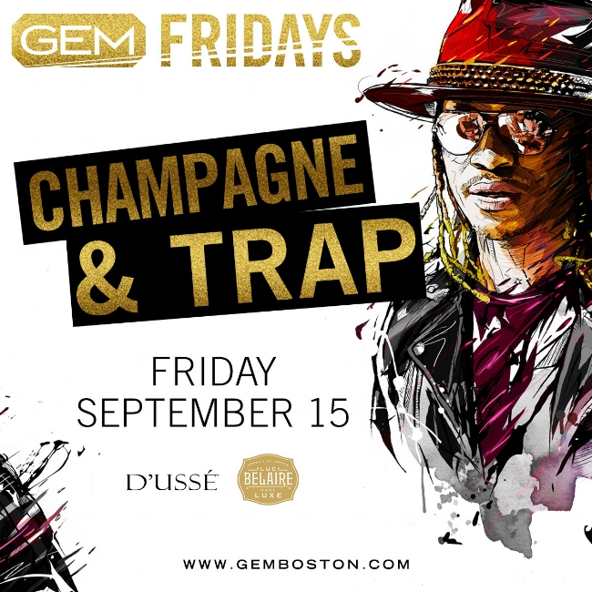Boston's new Premier Hip Hop Night sponsored by D'usse' & Belaire Luxe! Champagne & Trap is for the Fashionably Aware and Trendsetters who love Trap Music.   Music by : DJ Amero  & Notorious Bent Fridays DJ, DJ TGIF  Table Packages come with a  FREE  Bottle of Belaire Luxe due to sponsorship !    For More Information, Birthdays, VIP Tables Text 781.408.0612  LETS GET BENT!