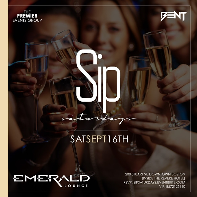 "Mixing BENT Hip Hop party vibes with Trendy & Fashionable Young Professionals, Sip Saturdays at Emerald has become a ""must go"" destination on Saturdays for those who love great food, drinks and dancing ! Click the button below for  LIMITED Ladies Free Tickets .   For More Information, Birthdays or VIP Tables Text 781.408.0612  LETS GET BENT"