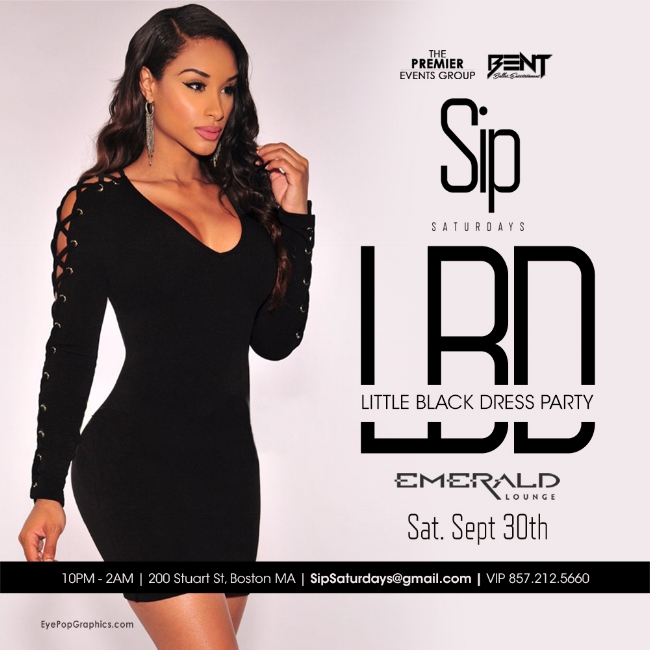 "Sip Saturdays at Emerald is the new ""must go"" destination on Saturdays for Trendy & Fashionable Young Professionals! LADIES please feel free to pull out your sexiest Black Dress to match this Saturdays theme. Gentleman please dress to impress (no hats no sneakers). Click the button below for LIMITED Early Bird Tickets. For More Information, Birthdays or VIP Tables Text 781.408.0612 LETS GET BENT"